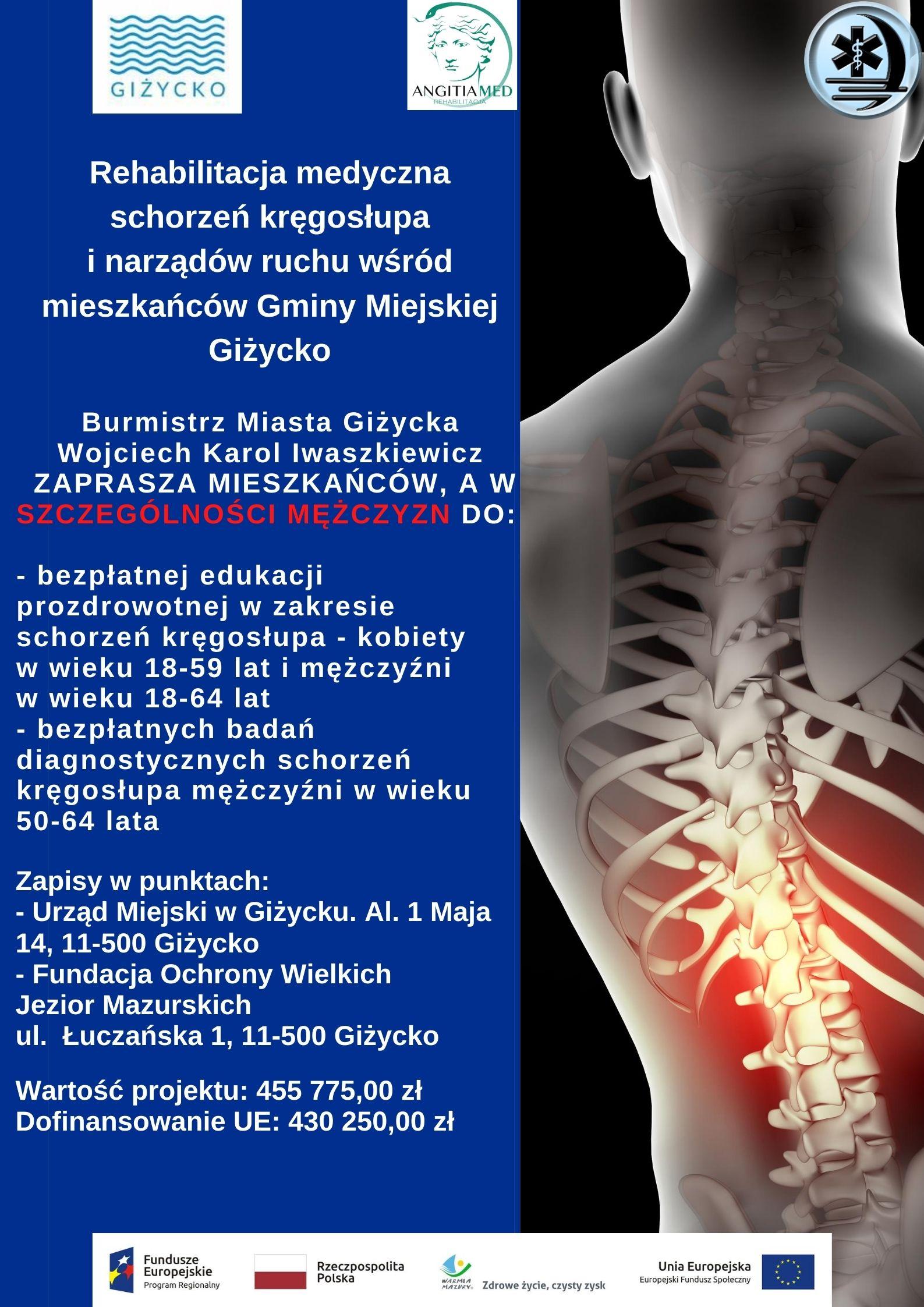 Rehabilitacja medyczna schorzeń kręgosłupa i narządów ruchu wśród mieszkańców Gminy Miejskiej Giżycko